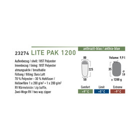 High Peak Lite Pak 1200 - Sac de couchage - gris/bleu